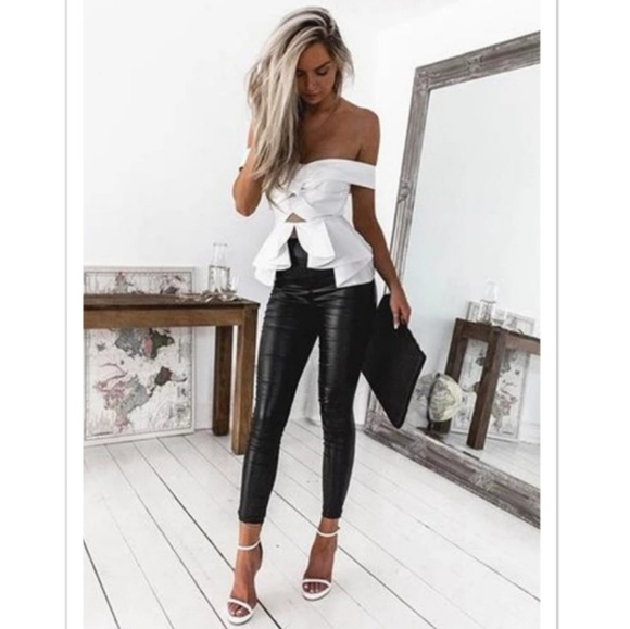High Waisted Foux Leather Skinny Leggings